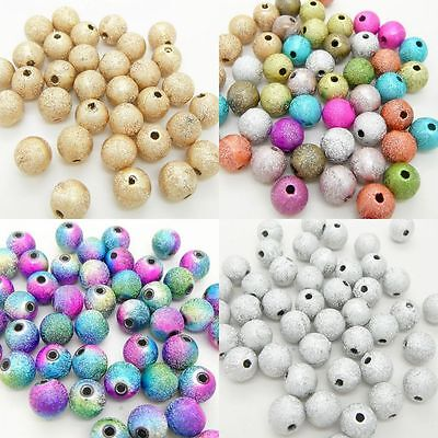 Metallic Round Glitter Stardust Beads Acrylic Plastic Jewellry Making Craft