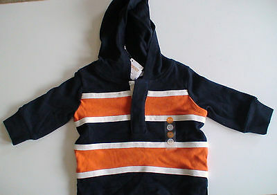 Nwt Gymboree Football Champ Navy Orange Striped Hooded Top 3-6 Months Fall