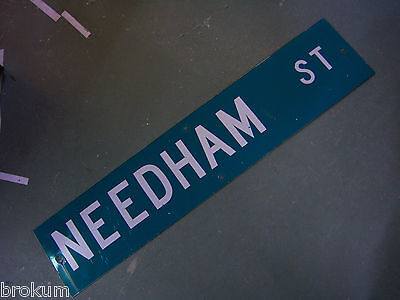 "Vintage ORIGINAL NEEDHAM ST STREET SIGN 42"" X 9"" WHITE LETTERING ON GREEN"