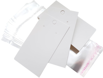 White Earring Display Cards Plain Thick & Self Adhesive Bags ~ (9 x 5cm)