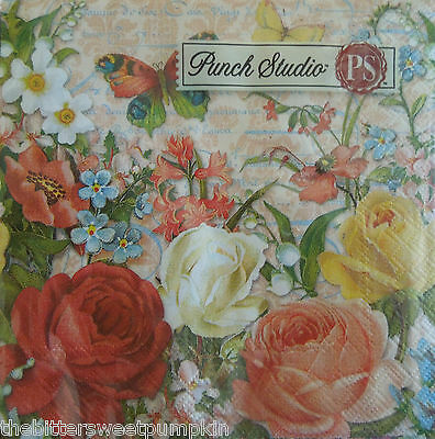 PUNCH STUDIO~BUTTERFLIES & ROSES~PAPER BEVERAGE/COCKTAIL NAPKINS~20 COUNT~SEALED
