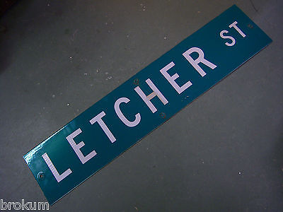 "Vintage ORIGINAL LETCHER ST STREET SIGN 42"" X 9"" WHITE LETTERING ON GREEN"