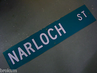 "Vintage ORIGINAL NARLOCH ST STREET SIGN 42"" X 9"" WHITE LETTERING ON GREEN"
