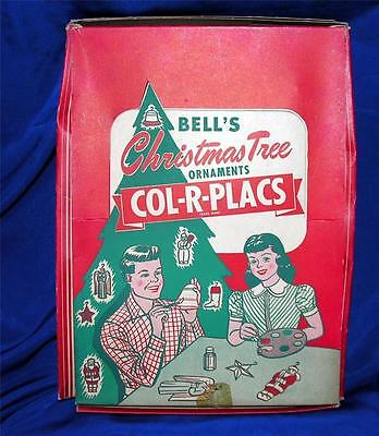 RARE VTG 1940'S UNUSED PLASTER CHALK XMAS ORNAMENTS CRAFT KIT, COL-R-PLACS, IOB