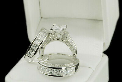 14k White Gold His & Hers 3pcs Engagement Wedding Ring Set .925 Sterling Silver