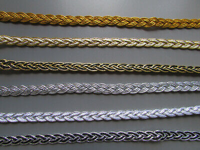 Silver & Gold Metallic Plait Braid Trim 0.8cm    Sewing/Crafts/Costume/Corsetry