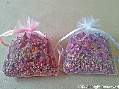 Dried Rose Petals and Heather Grains in Flower Bags- wedding confetti, crafts