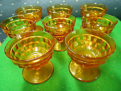 Beautiful American FOSTORIA Set of 8 Amber Footed SHERBET Glasses