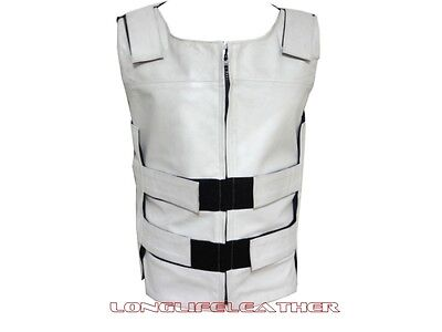 Men's White Bullet Proof Style Zipper Velcro Leather Motorcycle Vest S To 6XL