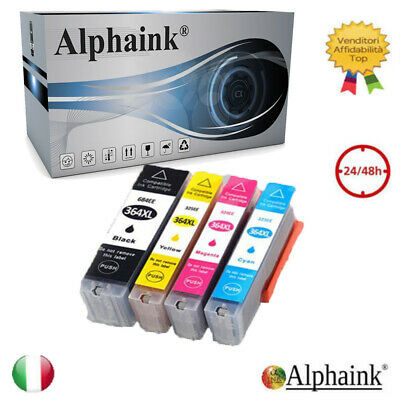 4 CARTUCCE PER HP 364 XL CON CHIP OfficeJet  4620 OfficeJet 4622 e-AiO