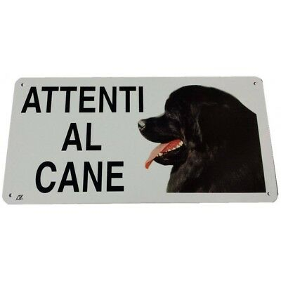 Cartello Attenti al Cane Terranova in metallo