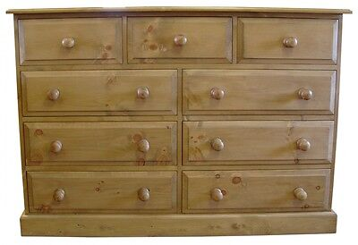 Traditional Hand Waxed Solid Pine Merchant Style Chest of 9 Drawers - UK MADE