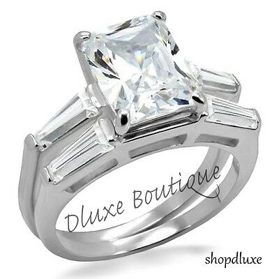 4.90 Ct Radiant Cut AAA CZ Stainless Steel Wedding Ring Set Women's Size 5-10