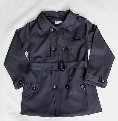 ELEGANT SMART GIRLS TRENCH COAT MAC DOUBLE BREASTED Navy Dark Blue 4-8 YEARS
