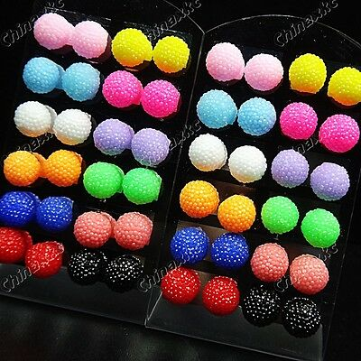 48p Mix Color Crystal Resin Stainless Steel stud Earrings Wholesale Jewelry Lots