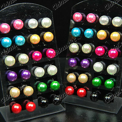 New 48pcs Mix Color Pearl Stainless Steel stud Earrings Wholesale Jewelry Lots