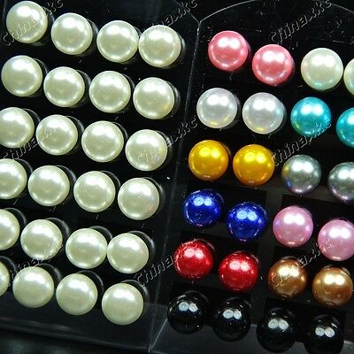 Mixed Lots 48pcs Wholesale Jewelry Stainless steel Pearl Fashion Stud Earrings