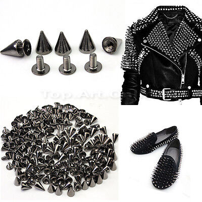 100x 10mm Black Metal Bullet Studs Cone Punk Spikes Spots Rivet Leathercraft DIY