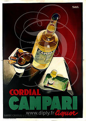 Reproduction Affiche Cordial Campari Liquor Alcool Satine 190 Grs