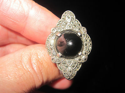 VIntage ART DECO Marcasite Onyx Cabochon Sterling Silver Womens Ring size 4.5