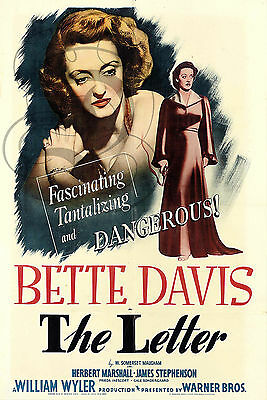 Repro Affiche Cinema Bette Davis The Letter Papier Satine 190 Grs