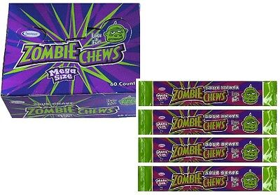 Bulk Lollies 60 x Zombie Chews Sour Grape Mega Size Party Favour Sweets
