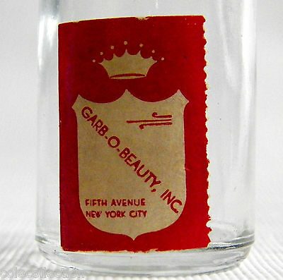 Old GARB-O-BEAUTY Small Glass Bottle With FIFTH AVENUE, NEW YORK CITY, NY Label