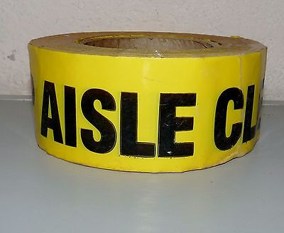 """NEW ROLL OF SAFETY HAZARD MARKING TAPE YELLOW KEEP AISLE CLEAR 2"""" W 5"""" OD"""
