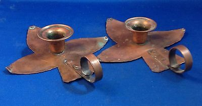 Arts & Crafts Movement Copper Candle Sticks Holders, Drumgold, Original Patina