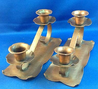Pair Arts & Crafts Movement Copper Candle Sticks Holders, Signed Coppercraft