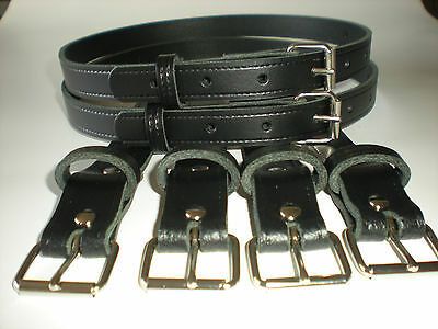 Vintage pram real leather suspension straps in black
