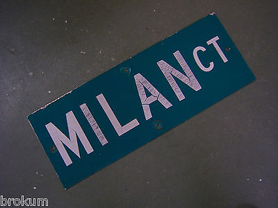 "Vintage ORIGINAL MILAN CT STREET SIGN WHITE ON GREEN BACKGROUND 24"" X 9"""
