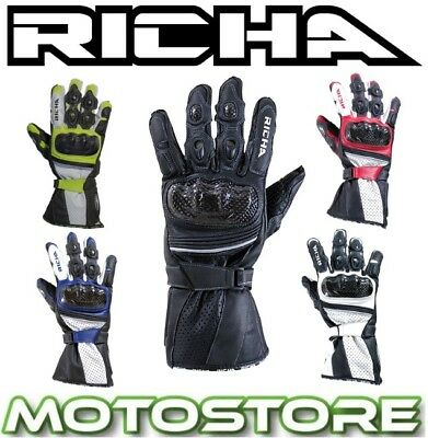 Richa Ravine Sports Leather Summer Vented Race Motorcycle Motorbike Gloves New
