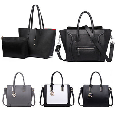 Ladies Designer Leather Style Celebrity Tote Bag Smile Shoulder Satchel Handbag