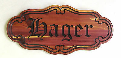 Personalized Cedar Old English Family Name Wedding Anniversary Sign Plaque