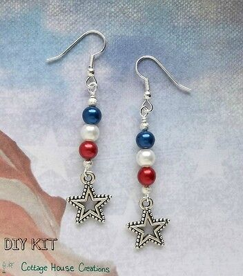 Patriotic Dangles Beaded Earring & Jewelry Making Photo Instruction Supply Kit