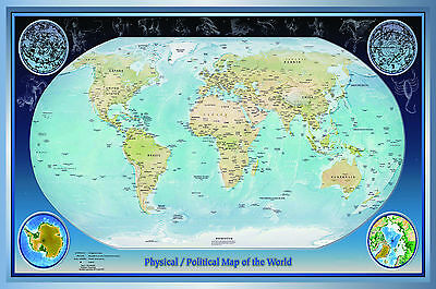 laminated  WORLD MAP (small , 15X22.5 inches) vintage / atlas educational POSTER