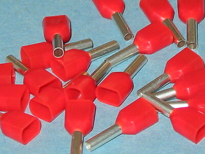RED TWIN  FERRULE CRIMP  1.0mm  (BOOTLACE CRIMPS)  QTY=10