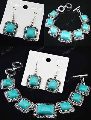 Wholesale Vintage Silver Square Turquoise Earring and Bracelet Charm Jewelry Set