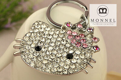 Z623 Hello Kitty Crown Crystal Bling Bling Keychain Key Ring