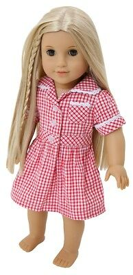 Frilly Lily Red Checked Summer School Uniform Dress For Dolls , Lots Of Sizes !