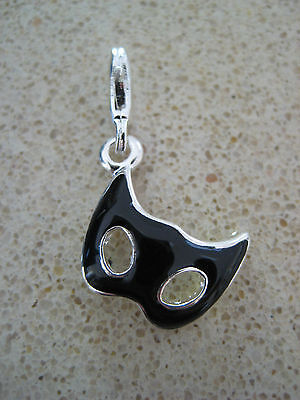 Clip On Silver Plated & Black Masquerade Theatre Mask Charm