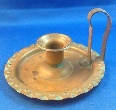 German Germany Arts & Crafts Movement Copper Candle Stick Holder Original Patina