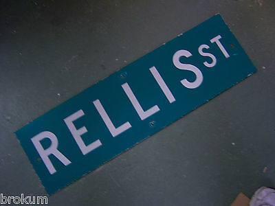 "Vintage ORIGINAL RELLIS ST STREET SIGN WHITE ON GREEN BACKGROUND 30"" X 9"""