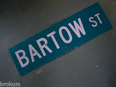 "Vintage ORIGINAL BARTOW ST STREET SIGN WHITE ON GREEN BACKGROUND 30"" X 9"""