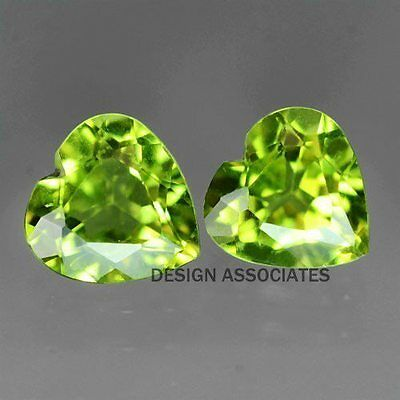 5 MM Heart Cut Peridot All Natural Without Treatment 2 PC SET