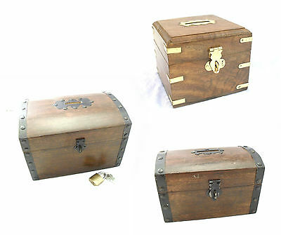 Money Box Hand Carved Wood Coin Caddy Loose Change Saver Tip Box