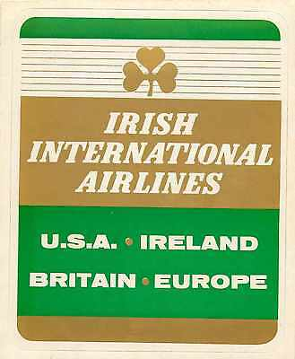 IRISH INTERNATIONAL AIRLINES - Great Old Luggage Label / Decal, c. 1960