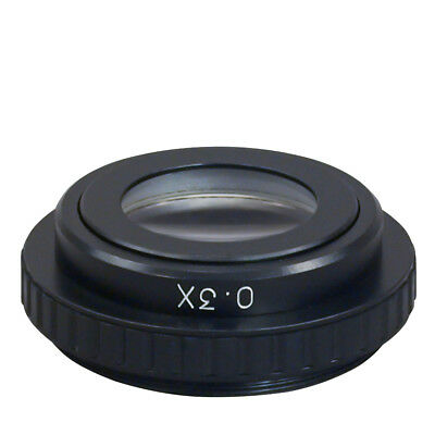 Add-on 0.3x Barlow Auxiliary Objective Lens for Stereo Microscope 50mm Thread