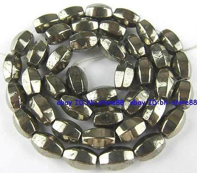 100% Natural 6x9mm Hexagonal Rice Pyrite Loose Beads 15''